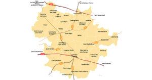 Carte présentant les routes passant par le territoire de la CC2M